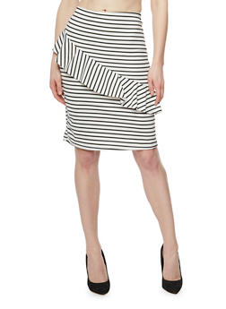 Striped Mid Length Pencil Skirt with Ruffle Detail - 1062020629844