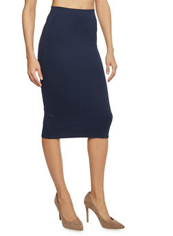 Basic Midi Pencil Skirt - 1062020629985