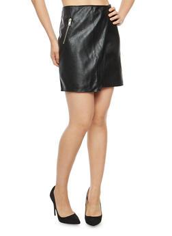 Faux Leather Side Zip Mini Skirt - 1062051066451