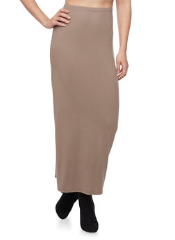 Solid Maxi Skirt - 1062054265544