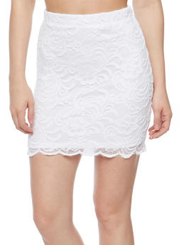 Solid Lace Mini Skirt - WHITE - 1062054266580