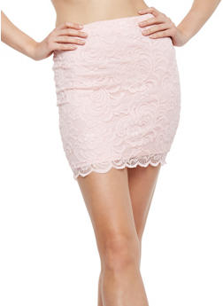 Solid Lace Mini Skirt - 1062054266580