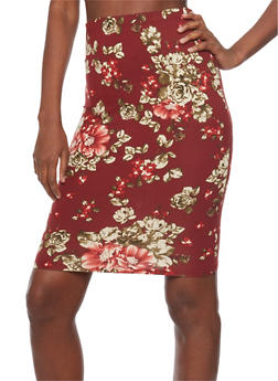 Floral Print Mid Length Pencil Skirt - 1062058933807