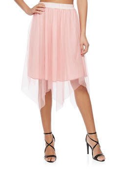 Solid Skater Skirt with Tulle Overlay - BLUSH - 1062058933904