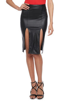 Faux Leather Double Slit Pencil Skirt - 1062062411526