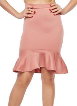Peplum Hem Pencil Skirt - 1062062411541