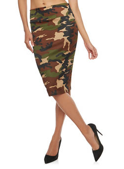 Printed Pencil Skirt - OLIVE - 1062062415017