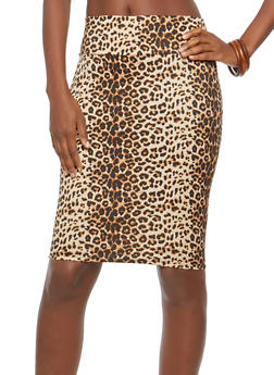 Printed Pencil Skirt - TAUPE - 1062062415017