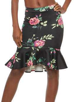 Rose Print Flounce Hem Pencil Skirt - 1062062415041