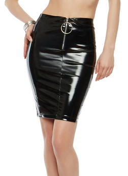 Faux Patent Leather O Ring Pencil Skirt - 1062062415079