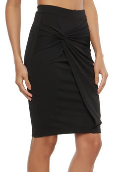 Knot Front Faux Wrap Pencil Skirt - 1062062415090