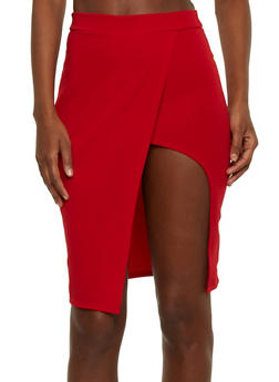 Mid Length Wrap Pencil Skirt with Front Open Slit - 1062062415151