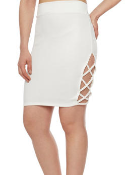 Ponte Knit Pencil Skirt with Caged Sides - IVORY - 1062062415205