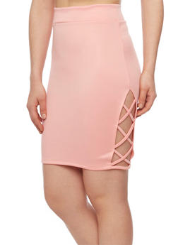 Ponte Knit Pencil Skirt with Caged Sides - 1062062415205