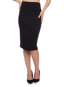 Midi Pencil Skirt with Back Slit - 1062062415949