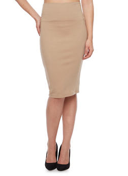 Midi Pencil Skirt with Back Slit - 1062062415949