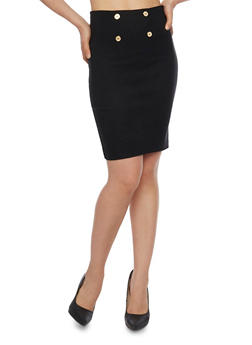 Sailor Button Pencil Skirt - 1062062418151