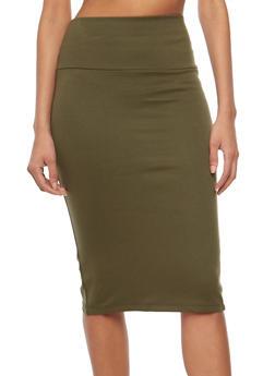 Back Slit Pencil Skirt - OLIVE - 1062062419495