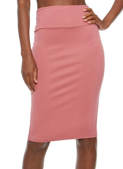 Back Slit Pencil Skirt - ROSE - 1062062419495