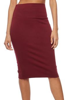 Back Slit Pencil Skirt - BURGUNDY - 1062062419495