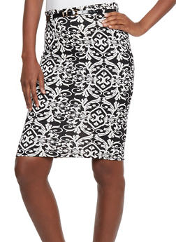 Printed Pencil Skirt with Belt - 1062062701865