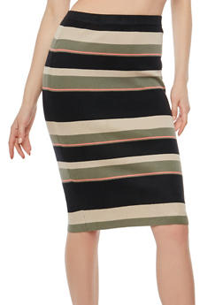 Striped Knit Pencil Skirt - 1062062707046