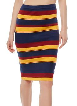 Striped Knit Pencil Skirt - 1062062707046