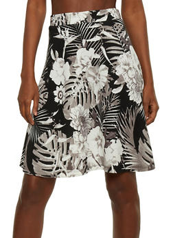 Tropical Floral Print Skater Skirt - 1062062708333