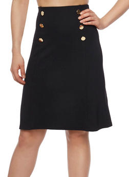 Mid Length Sailor Button Skirt - 1062062708610