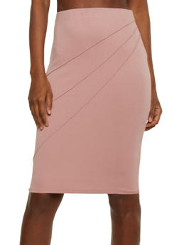 Solid Pencil Skirt with Pintucks - 1062062708675