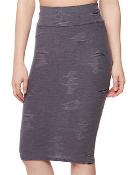 Distressed Mid Length Pencil Skirt - 1062063402284