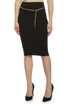 Solid Midi Pencil Skirt with Chain Link Belt - 1062063409284