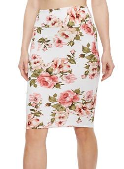 Floral Crepe Knit Pencil Skirt - IVORY/BLK - 1062074011225