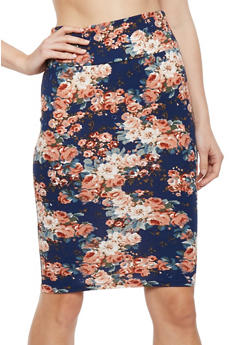 Floral Crepe Knit Pencil Skirt - NAVY/CORAL - 1062074011225