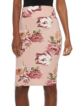 Floral Crepe Knit Pencil Skirt - MAUVE - 1062074011225