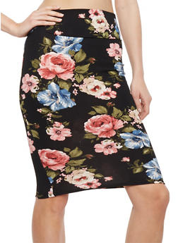 Floral Crepe Knit Pencil Skirt - PINK/BLK - 1062074011225