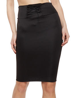 Solid Pencil Skirt with Lace Up Detail - BLACK - 1062074011455