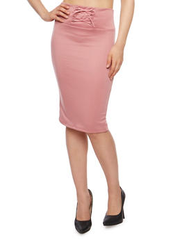 Solid Pencil Skirt with Lace Up Detail - 1062074011455