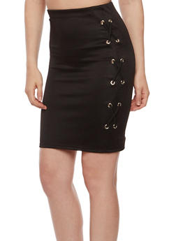Solid Lace Up Pencil Skirt - 1062074011469