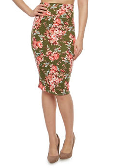 Rose Print Pencil Skirt - 1062074011518