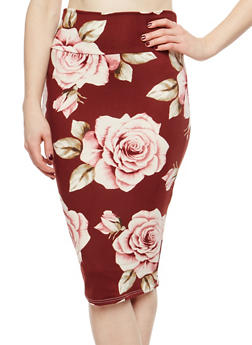 Rose Print Pencil Skirt - 1062074011518