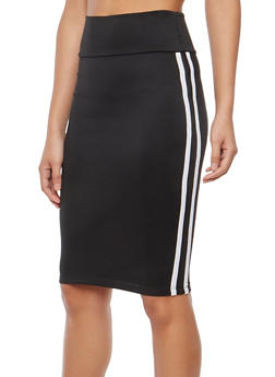 Athletic Stripe Stretch Pencil Skirt - 1062074011522