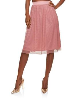 Polka Dot Mesh Skater Skirt - 1062074011530
