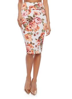 Floral Midi Pencil Skirt - 1062074011537