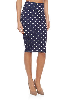 Floral Midi Pencil Skirt - NAVY - 1062074011537