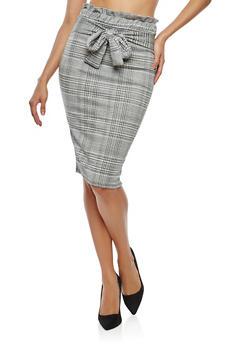 Plaid Paperbag Waist Pencil Skirt - 1062074011547