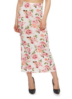 Floral Midi Pencil Skirt - IVORY/ROSE - 1062074012630