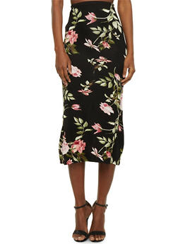 Floral Midi Pencil Skirt - OLIVE/MAUVE - 1062074012630