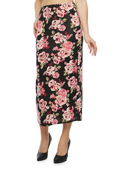 Floral Midi Pencil Skirt - BLACK/MAUVE - 1062074012630