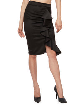Ruffled Mid Length Pencil Skirt - 1062074012632